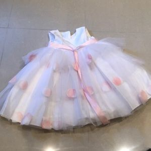 Beautiful white and pink flower girl dress